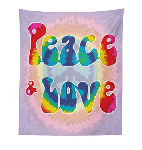 Ambesonne Groovy Tapestry, Peace and Love Text in Tie Dye Effect Pattern Energetic Youthful Fun 60s 70s Hippie, Fabric Wall Hanging Decor for Bedroom Living Room Dorm, 23 W X 28 L Inches, Multicolor ()