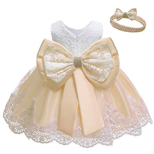 LZH Baby Girls Formal Dress Bowknot Birthday Embroidery Tutu Dress with Headwear(8348-Champagne,3M/0-3 Months)