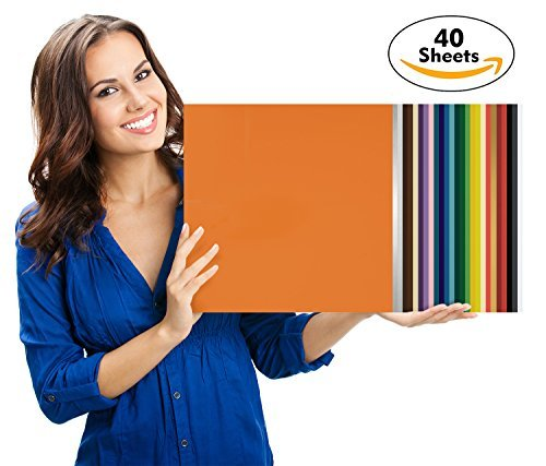 Art-in-Shock 40 Vinyl Sheets Premium Permanent Self Adhesive Set | 12x12 | Matt, Glossy & Metalized Colors | Easy to Weed & Stick | for Arts & Crafts, DIY Projects, Wood Signs, Home Décor, Cups Home Décor 4336977025