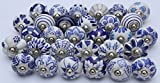 Zoya's Set of 28 Blue and white hand painted ceramic pumpkin knobs cabinet drawer handles pulls