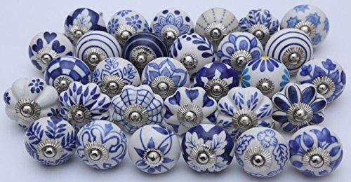Zoya's Set of 28 Blue and white hand painted ceramic (28 Ceramic)
