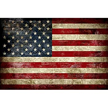 Pyradecor Large Old Vintage American Flag Canvas Prints Wall Art Pictures Paintings for Living Room Office Home Decorations Modern Abstract Landscape Artwork 24