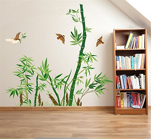 ufengke Green Bamboo and Flying Birds Wall Decals, Living Room Bedroom Removable Wall Stickers Murals