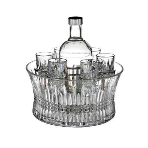Waterford Crystal, Lismore Diamond Vodka Set in Chill Bowl with Silver Insert - Lead Crystal Diamond Bowl