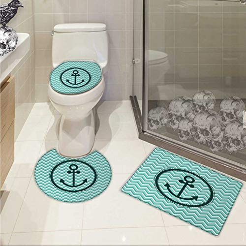Carl Morris Anchor bath rug set piece Horizontal Zig Zag Pattern Background Anchor Image Circle Shape Medallion 3 Piece Toilet Cover set Dark Green ()