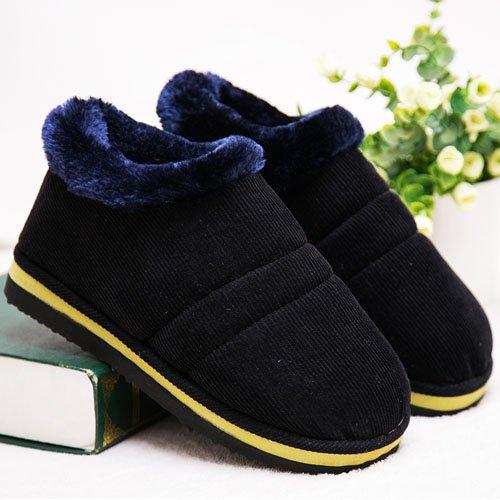 le avec antidérapant chaussures des 40 noir du à en Chaussons talon épais paquet main chaussures coton et Les femmes de chaud coton accueil d'hiver 41 haut dans la coton côtel en mois hommes bureau nwxP4AfqT
