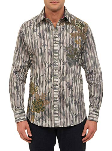 Kingfish Long Sleeve - Robert Graham Men's Limited Edition Kingfish Long Sleeve Button Down Shirt, Olive, Large