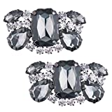 IEFIEL 1 Pair Women Charming Crystal Rhinestones Shoe Clips High Heel Buckle for Wedding Prom Black C One Size