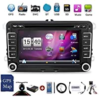 "Windows CE 6.0 7"" 2DIN Car DVD Player GPS Stereo Navigation for VW Golf 4 5 6 Passatcc Polo Jetta Tiguan Touran EOS Sharan Scirocco T5 Caddy HD Support BT/FM/AM/USD/EQ Free Camera&Canbus"