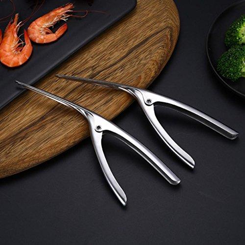 Kanzd tainless Steel Prawn Peeler Shrimp Deveiner Peel Device Prawn Peeler Creative Kitchen Tools with Non-Slip Handle (Silver)