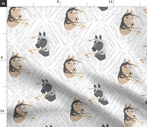 Spoonflower Horse Fabric - Mustang Diamond Wild Pony Tribal Boho Baby Girl Nursery Native American Navajo Print on Fabric by The Yard - Velvet for Upholstery Home Decor Bottomweight Apparel