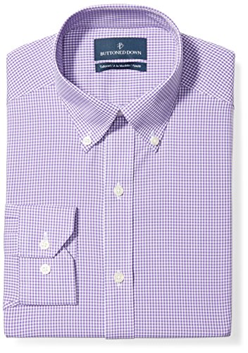 BUTTONED DOWN Men's Tailored Fit Button-Collar Pattern Non-Iron Dress Shirt, Purple Gingham, 15.5