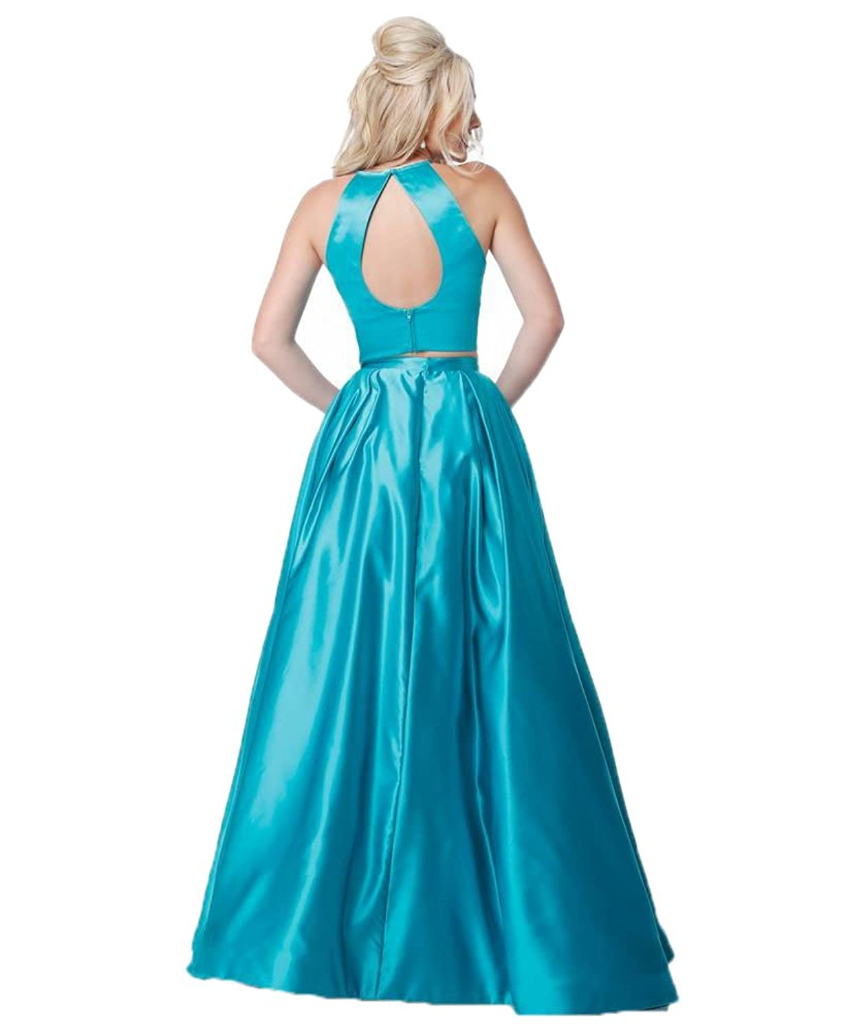Zhongde Women\'s Two Pieces Long Satin Prom Dresses Evening Party ...