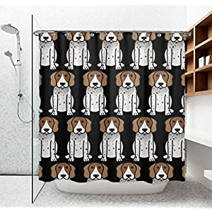 NiYoung Shower Curtain - Waterproof Thick Fabric Cloth Bath Curtain with 12 Hooks, Durable and Eco-Friendly American English Coonhound Cartoon Shower Curtains Fashion Design for Bathroom Bathtub 1
