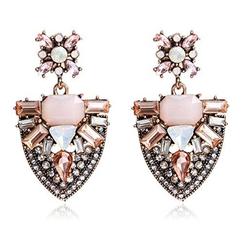 Unicra Trendy Pink Crystal Earring Studs Boho Wedding Bridal Drop Earrings for Women and Girls