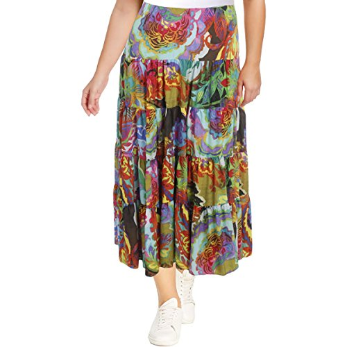 Lauren Long Skirt Skirt - Lauren Ralph Lauren Womens Plus Floral Print Pull On Maxi Skirt Blue 3X