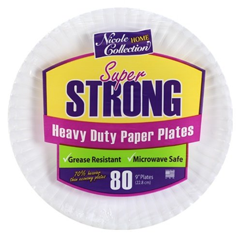 Nicole Home Collection 80 Count Heavy Duty Paper Plate, 9