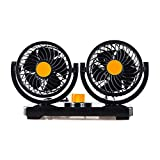 12V Car Electric Fan Low Noise Summer Air Conditioner 360 Degree Rotating Fan Air Cooling Fan Mini Automobile Parts(black&orange)