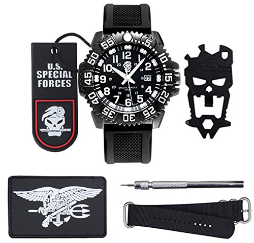 200m Gents Watch (Topbrighttrade Men's Navy Seal Quartz Movement Black Sport Watch Waterproof Watches With Rubber Band Glows in Night)