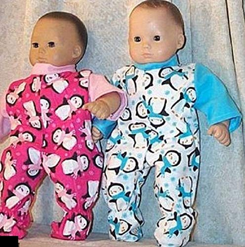 Doll Clothes fit American Girl Boy Twin 15 Sleepwear 2pc Penguins Turquoise Pink