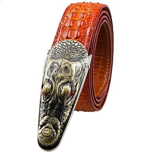 And 1 Embossed Belt (Moonsix Leather Belts for Men 35mm Alligator Crocodile Embossed Dress Belt with Plaque Buckle,Style 1-Red)