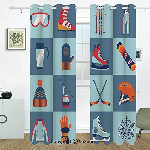 Kids Grommet Blackout Window,Ice Skating Winter Sports Skiing Boot Cap Glasses Glove Helmet Skates Snowboard Print,for Bedroom&Living Room&Patio Sliding Doors,2 Panels Set,108 X 108 Inches,