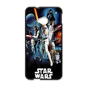 HTC One M7 Cell Phone Case Black_Star Wars Darth Vader Luke Skywalker Han Solo Leia Chewbacca Colorful Sci Fi Poster Blockbuster Ihkmo