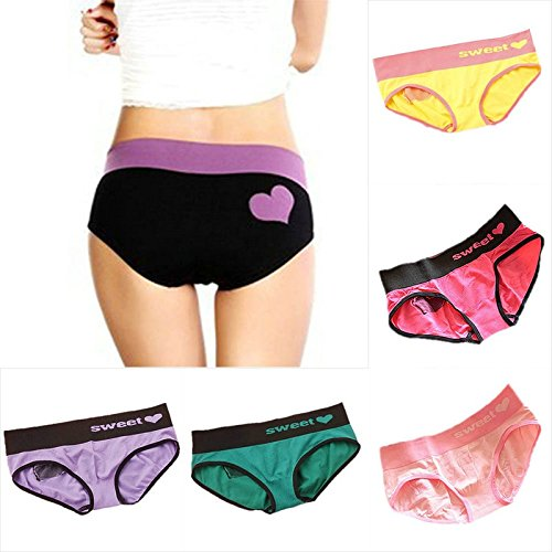 Lady's Heart Pattern Multi-Color Cotton Knicker Seamless Underwear underpants Yellow one size