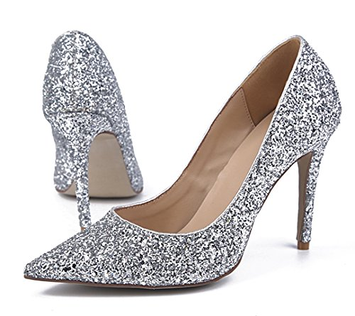 Evening Silver Pointed Dress Party Toe Women's Shoes Sexy Glitter Stiletto TDA 56YwIxv