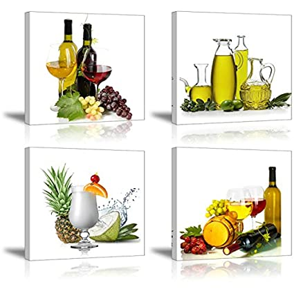 Charming Wine Canvas Wall Art, SZ 4 Piece Beautiful Fruits Picture For Dining Room,  Vibrant