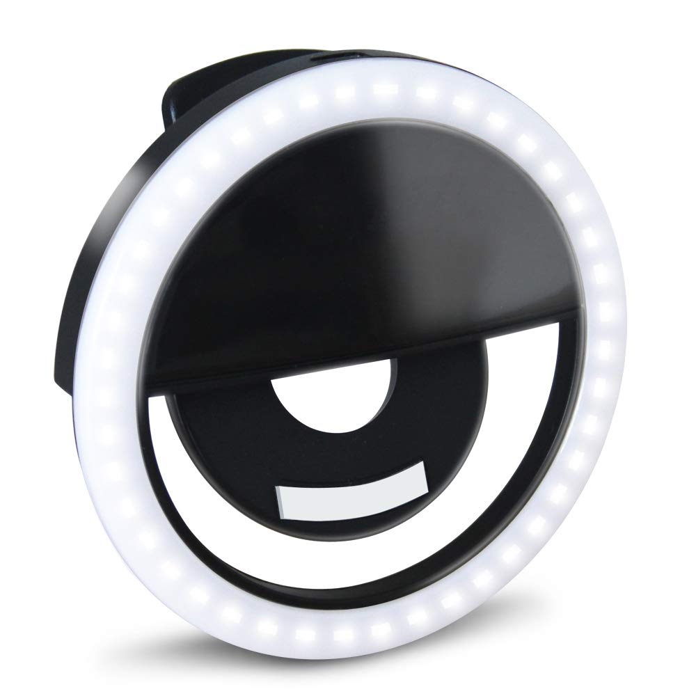 GLOUE Selfie Light Ring Led Circle Clip-on Selfie Fill Light with 36 Led Bubbles USB Rechargeable Portable for iPhone, Smart Phones, Pads, Makeup Mirrors (Black, 1 Pack) by GLOUE