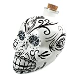 Bar Amigos White - Mexican Skulls Sugar Art Shaped Themed Glass Top Decanter & Cork Stopper Can Be Used For Wines And Spirits And More - Inspired By The Mexician Day Of The Dead Holiday Festival