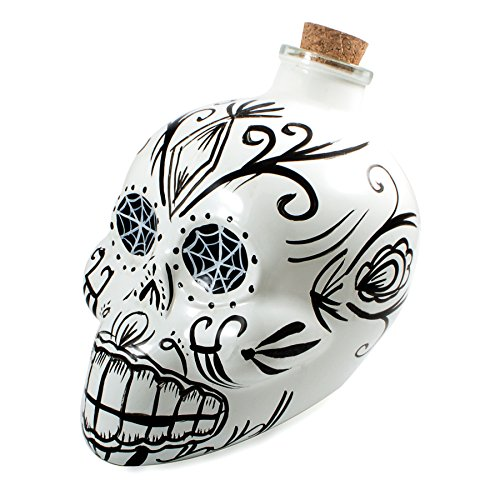 (Bar Amigos White - Mexican Skulls Sugar Art Shaped Themed Glass Top Decanter & Cork Stopper Can Be Used For Wines And Spirits And More - Inspired By The Mexician Day Of The Dead Holiday Festival)