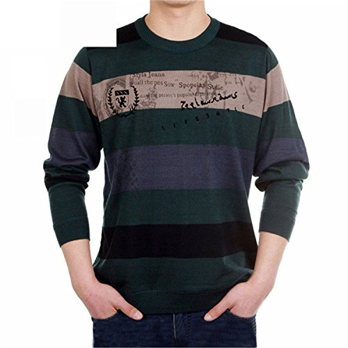 - Carterd Air Permeability Cashmere Sweater Men 2016 New arrival Mens Sweaters Striped Printed Wool pullover Men O Neck Pull Homme Brand GreenM