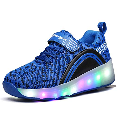 SDSPEED Kids Roller Skate Shoes with Single Wheel Shoes Sport Sneaker LED]()