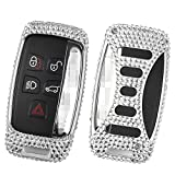 [M.JVisun] Car Key Fob Cover For Jaguar XE XF XJ F-PACE F-TYPE Remote Key Smart Engine Start Stop, Diamond Car Key Case Cover Handmade, Aircraft Aluminum + Genuine Leather + Bling Crystal - Silver