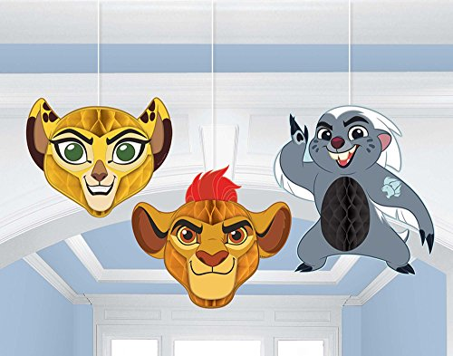 - amscan Lion Guard Honeycomb Decorations 3 Count Birthday Party Supplies Lion King Hanging