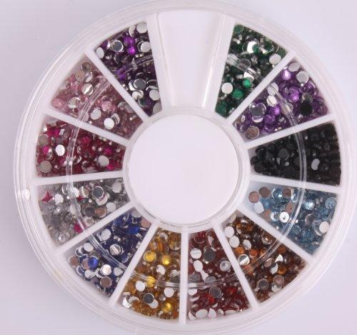 BTArtbox 1800 Pcs Pearl Multi Colors 1.5mm Nail Art Nailart Manicure Glitter Rhinestones Tips Decoration + Wheel for $<!--$10.99-->