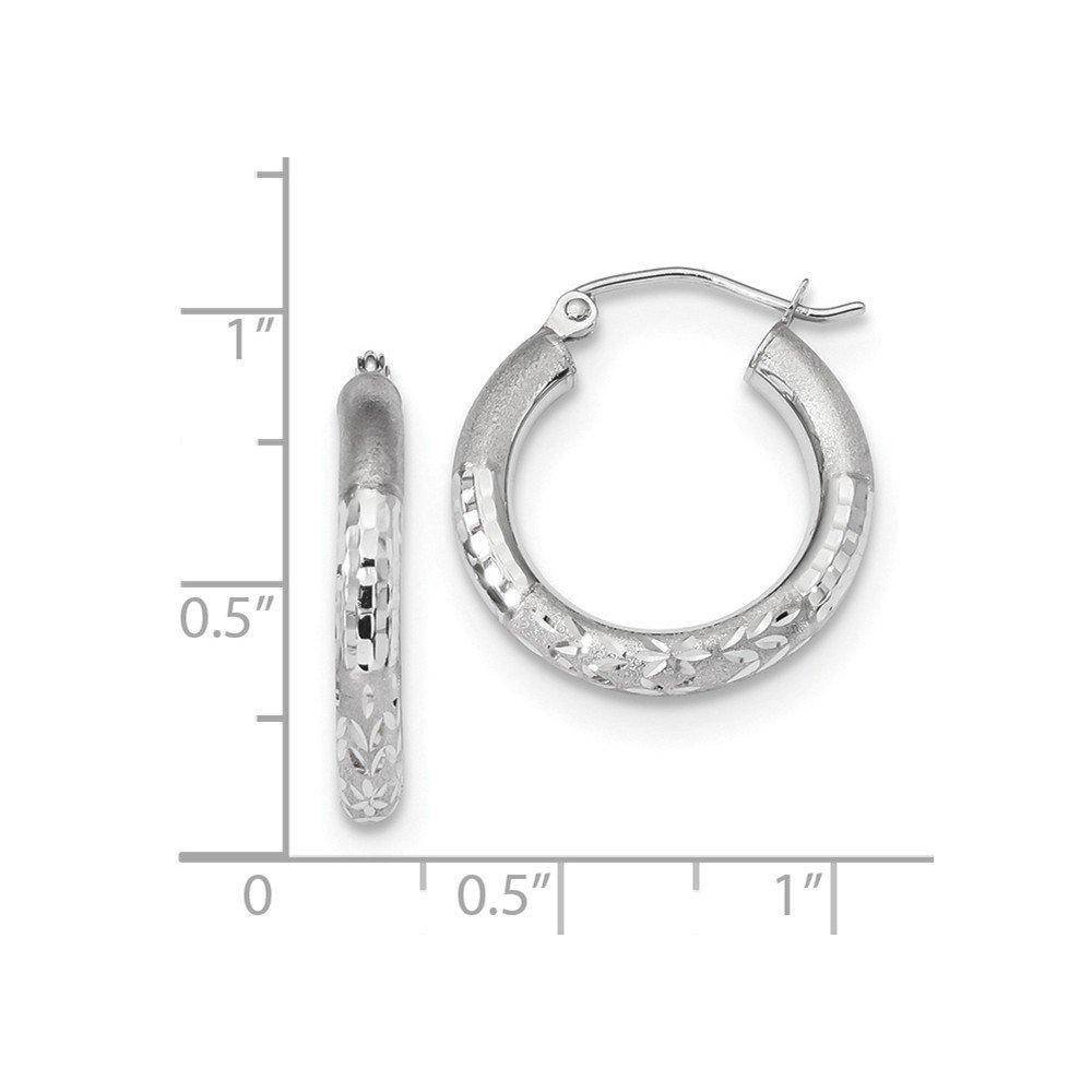 Mia Diamonds 14k White Gold Polished Satin and Diamond-Cut Hoop Earrings