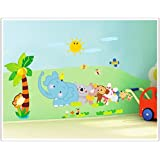 Indian Royals ' Cartoon animals elephants coconut trees  ' Wall Sticker (PVC Vinyl, 60 cm X 45 cm, Decorative Stickers)