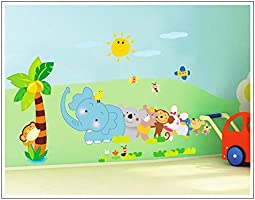 Decals Design 'Jungle Cartoon Cute Animals' Wall Sticker