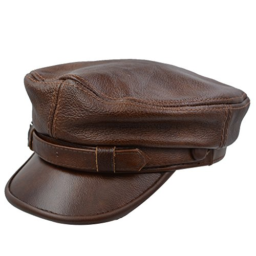 IFSUN Men's Leather Greek Fisherman Sailor Fiddler Driver Hat Flat Cap