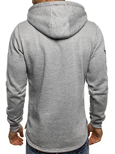 OZONEE Uomo Maglia Pullover Pullover con cappuccio Pullover Sportivi Motivo J.STYLE J004 - grigio, XL