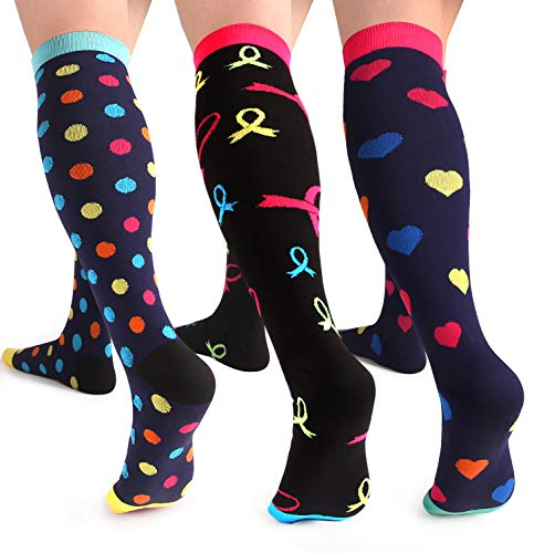 Compression Socks Women Running, Sports, Travel, Flight, Nurses, Pregnancy...15-20 mmHg Color-2 Large / X-Large 3 pairs ()