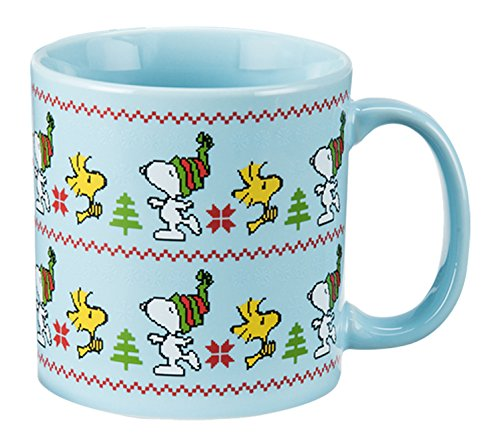Collectible Theme Mug Christmas - Vandor 85361 Peanuts Ugly Sweater 20 Ounce Ceramic Mug, Multicolored
