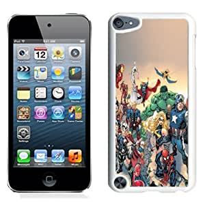 Lovely and Durable Cell Phone Case Design with Marvel Comic Book Characters iOS7 iPod Touch 5 Wallpaper in White