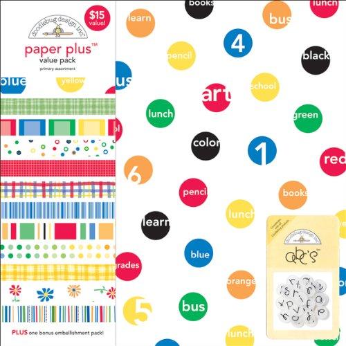 Doodlebug Design Paper Plus Assortment Pack 12x12 Sheets 12/Pkg-Primary Doodlebug Design Page Kit