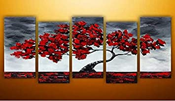 Sangu 5 Piece Red Tree Black Cloud Oil Paintings Gift Canvas Wall Art  Paintings For Part 36