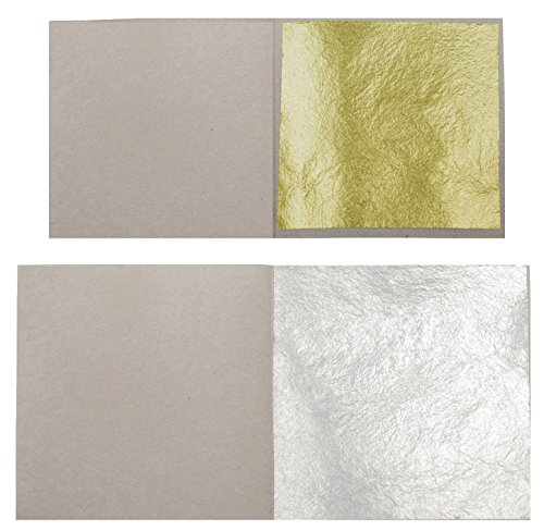 10 Edible Gold Leaf Sheets 38mm x 38mm + 10 Edible Silver Leaves 63mm x 63mm 24 Carat 999/1000 (999 Pure Silver Leaf)