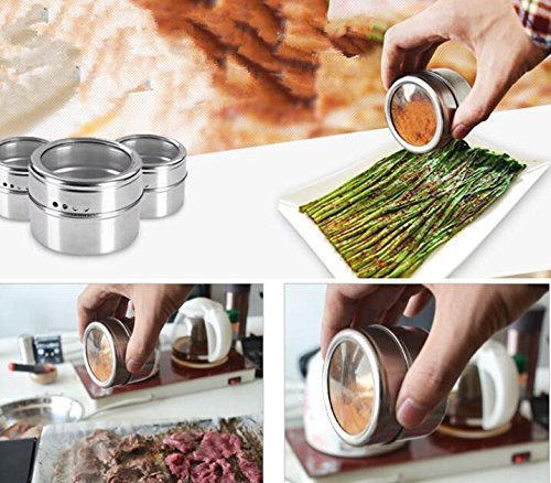Bekith 16 Pack Stainless Steel Magnetic Multi-Purpose Spice Storage Tins, Clear Top Lid with Sift or Pour, Magnetic on Refrigerator and Grill